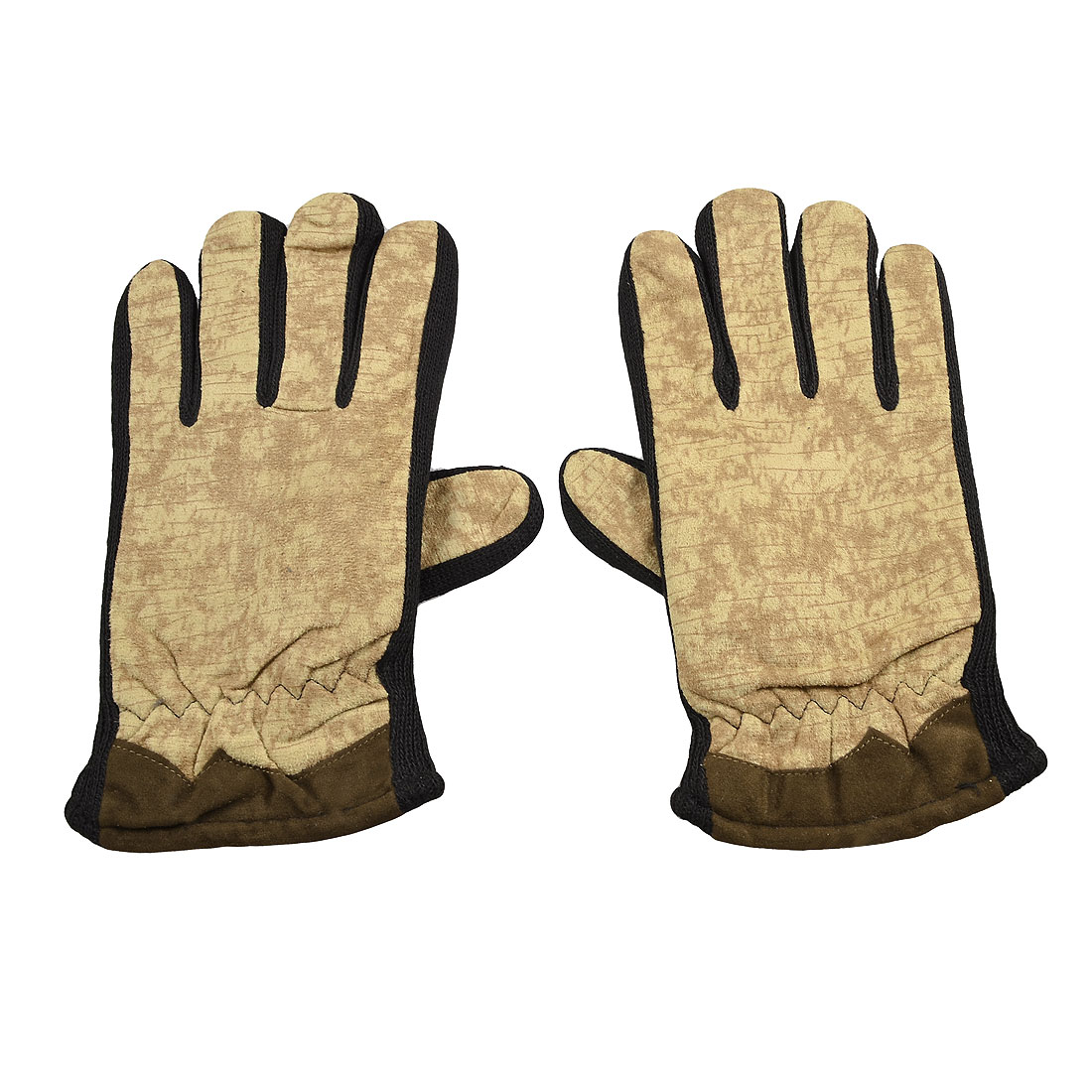 Lady Black Beige Winter Hand Wearing Full Fingers Flannel Warmer Gloves Pair