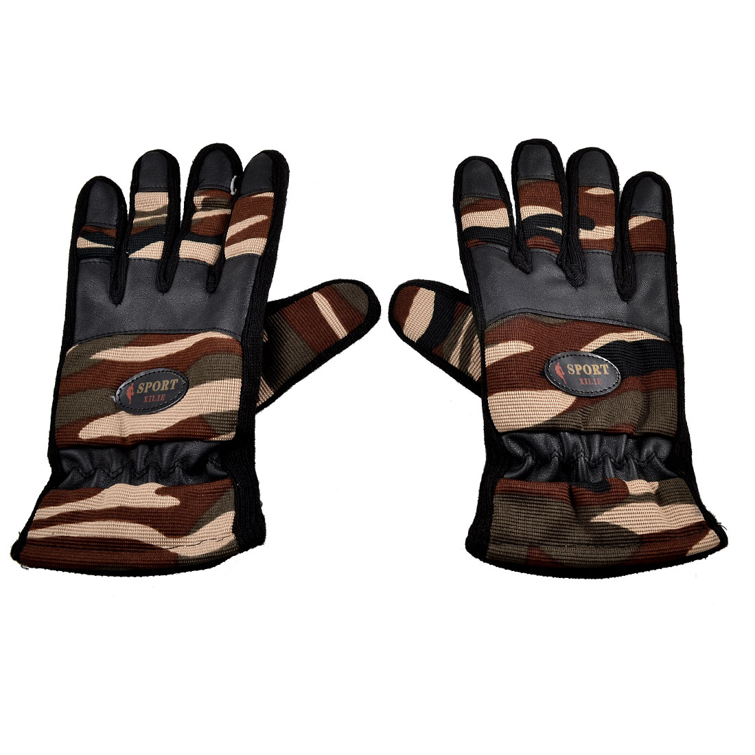 Men Black Nonslip Rubber Dots Camouflage Full Fingers Warm Gloves Pair