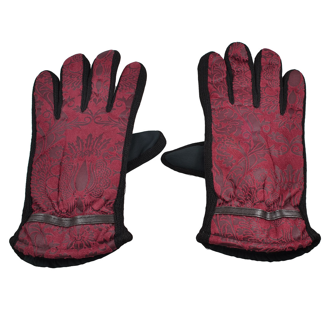 Women Pair Floral Cotton Blends Full Fingers Warm Winter Gloves Fuchsia Dark Green