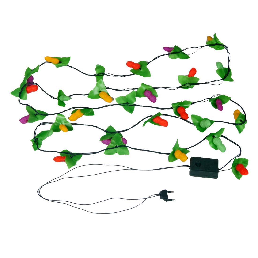 Christmas Tree Lighting Colorful Peanut Shape LED Lamps Hanging Vine Light 3.4M