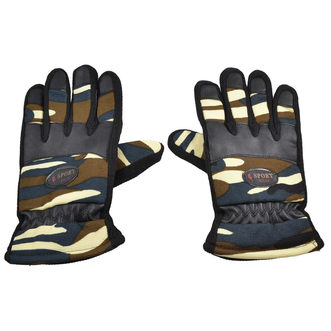 Man Black Camouflage Faux Leather Full Fingers Sports Warmer Gloves Pair