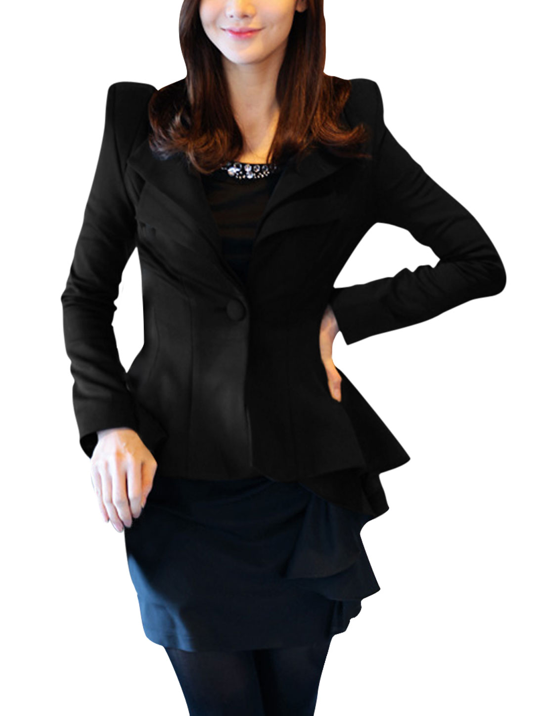 Ladies Black Long Sleeves Ruffled Design Hem Casual Blazer XS