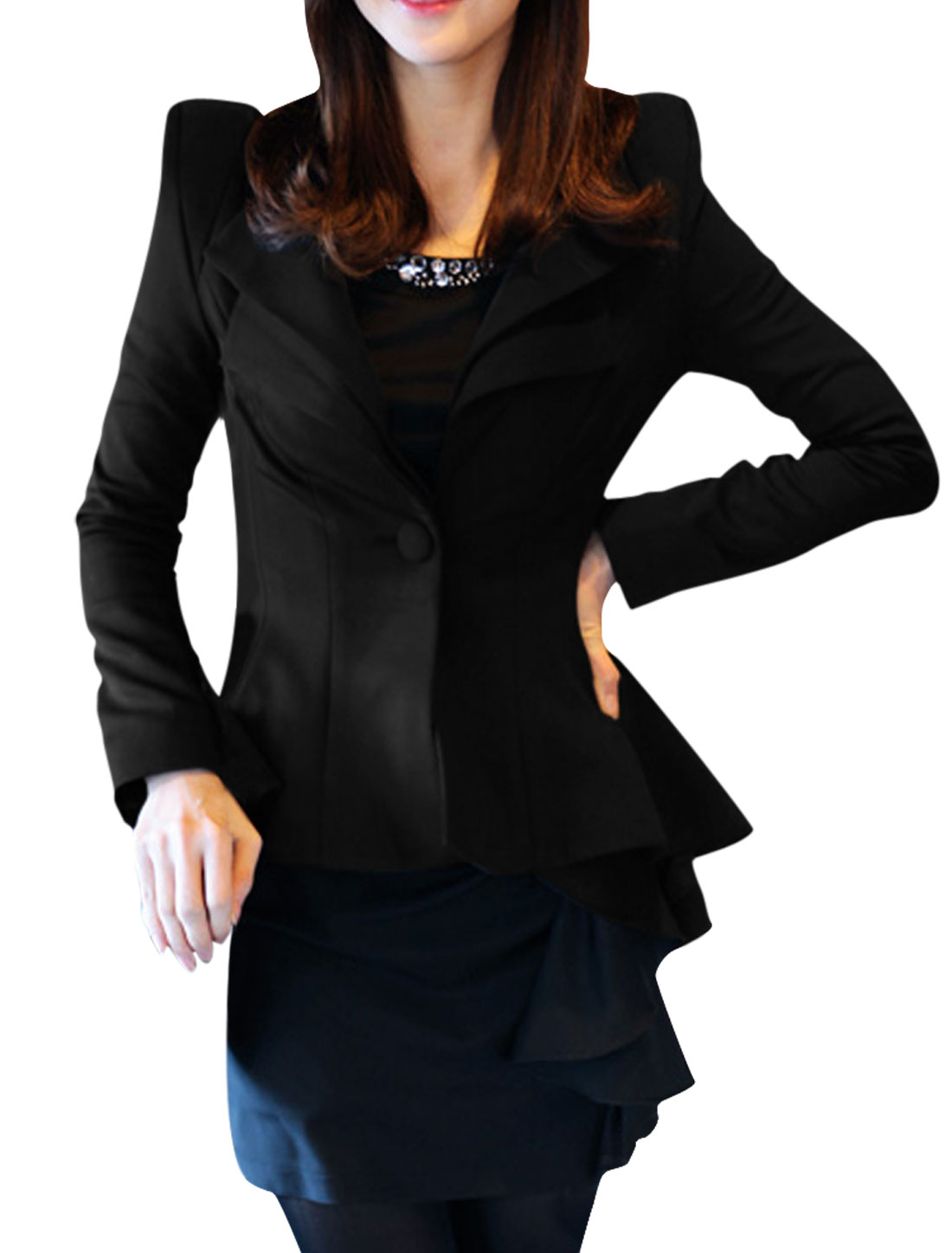 Ladies Black High Low Hem Stretchy Casual Autumn Stretchy Blazer M