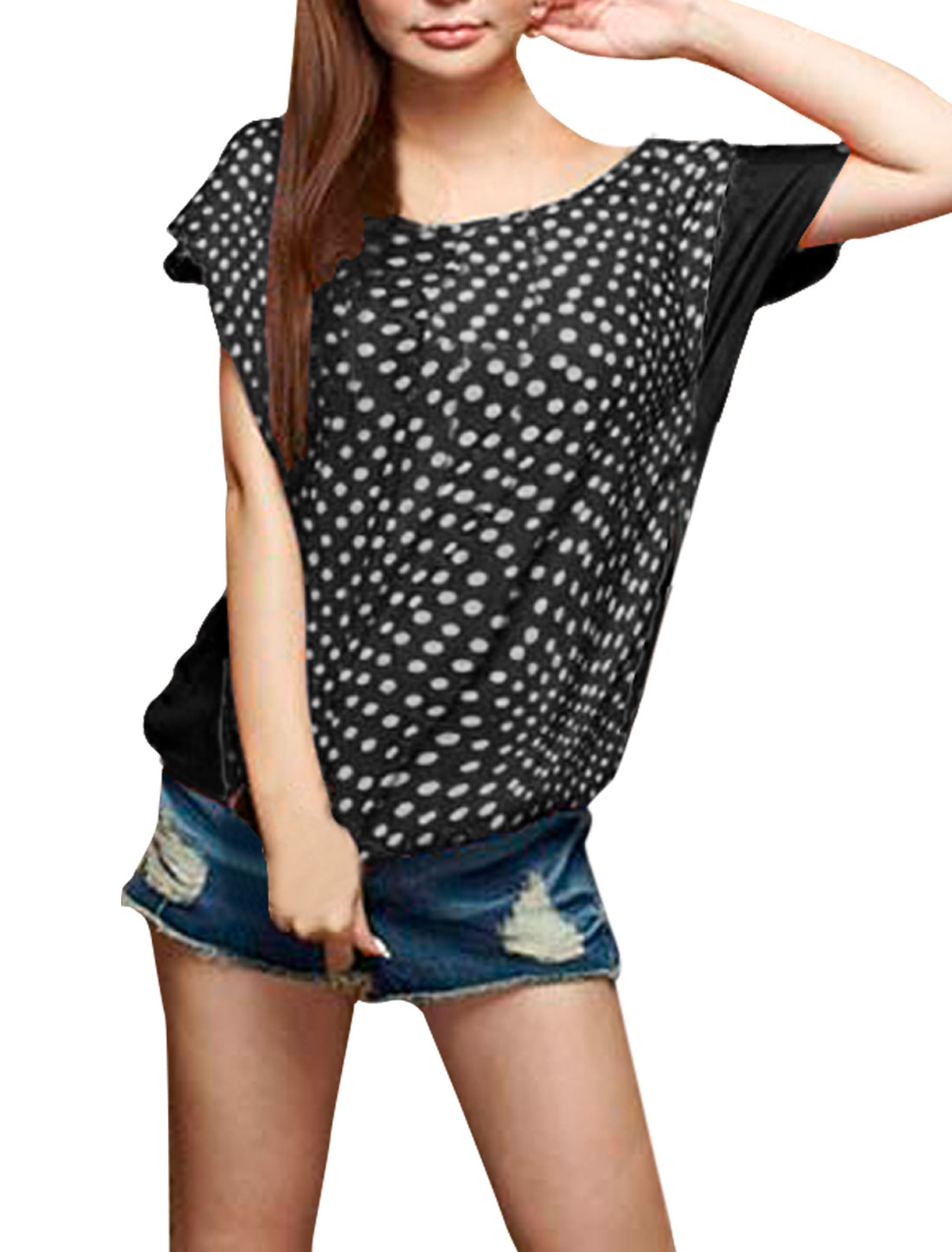 Ladies Black White Scoop Neck Dots Pattern Loose Pullover Summer Blouse S