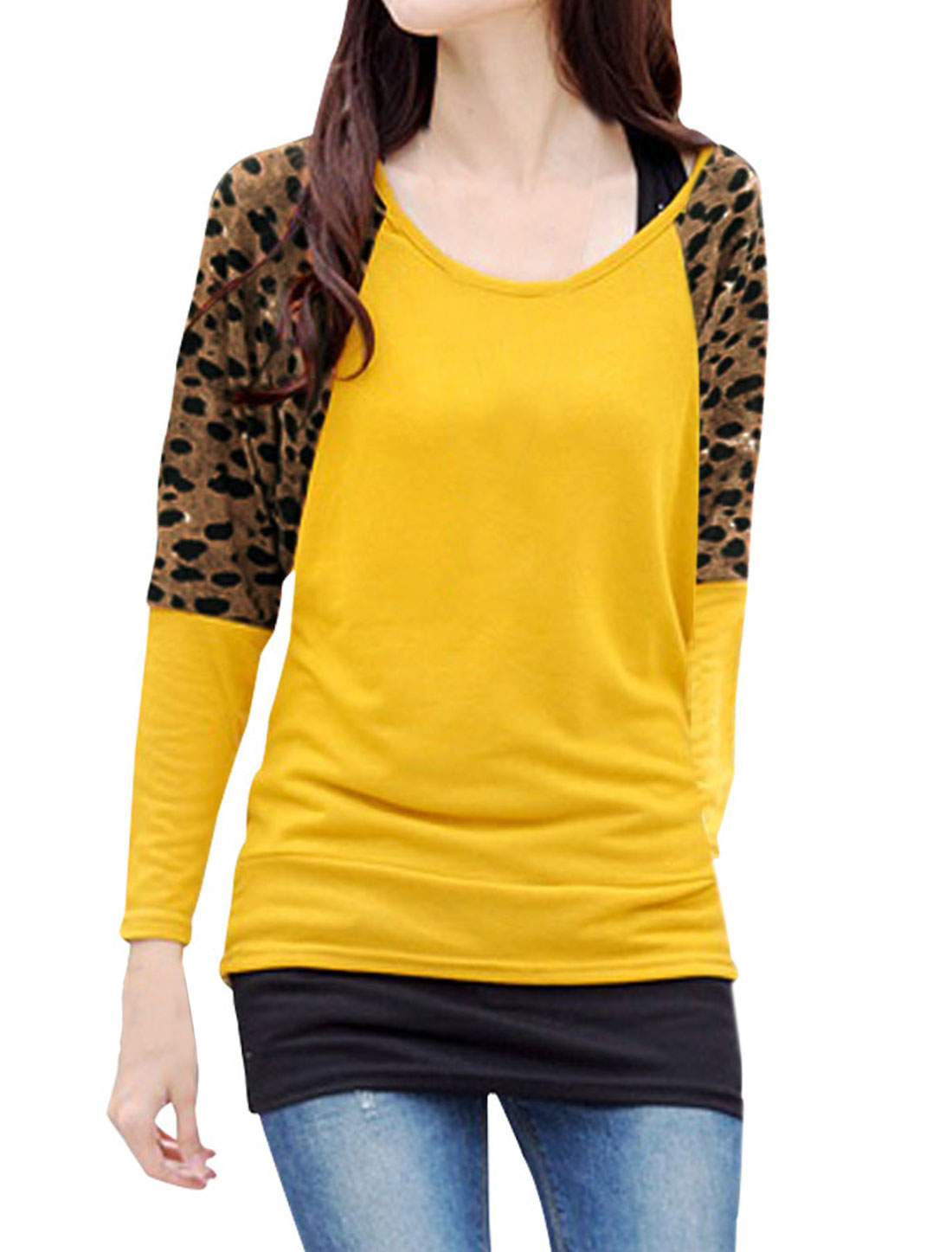 Ladies Yellow Raglan Sleeves Leopard Prints Pullover Casual Blouse XS