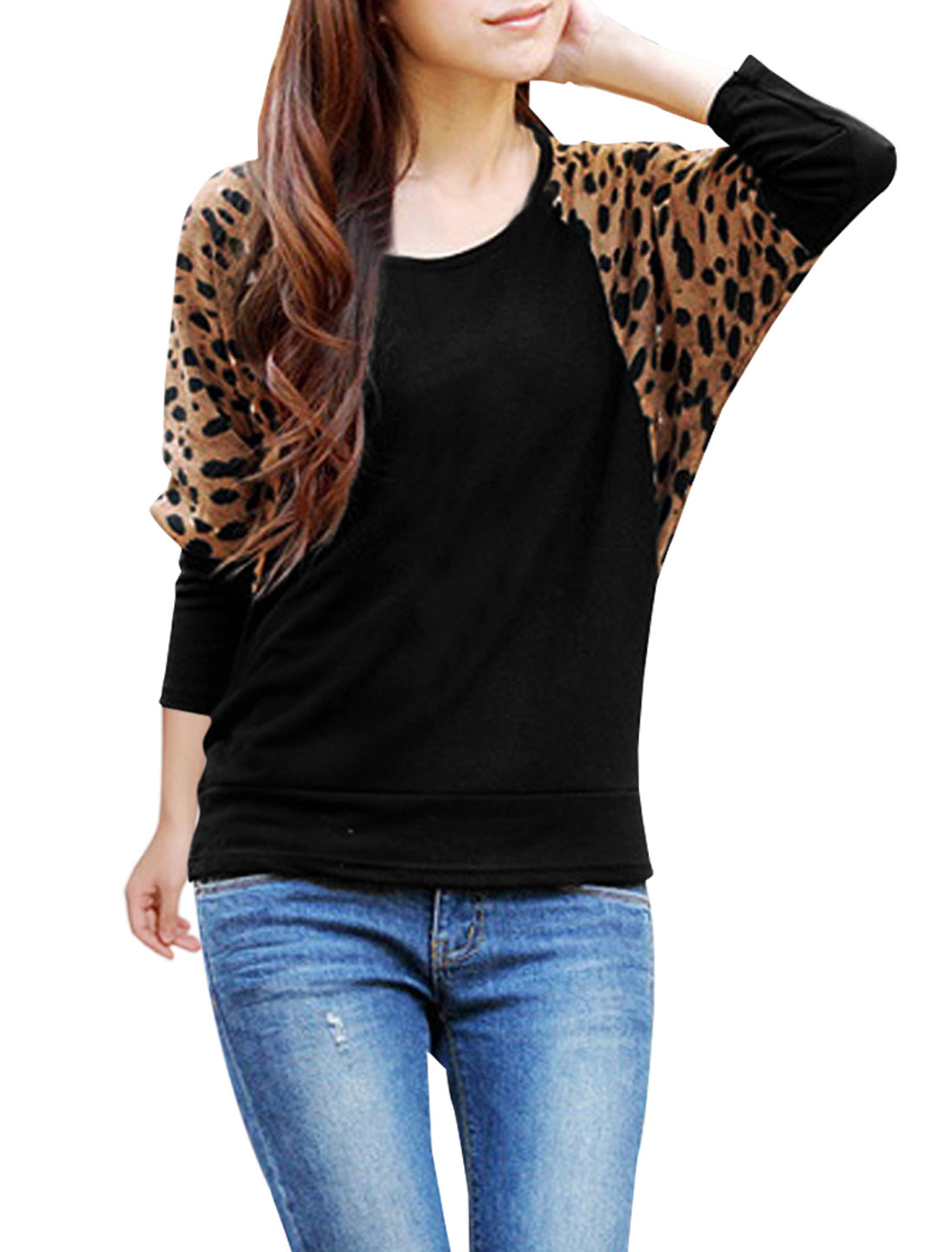 Ladies Black Scoop Leopard Prints Panel Autumn Leisure Blouse XS