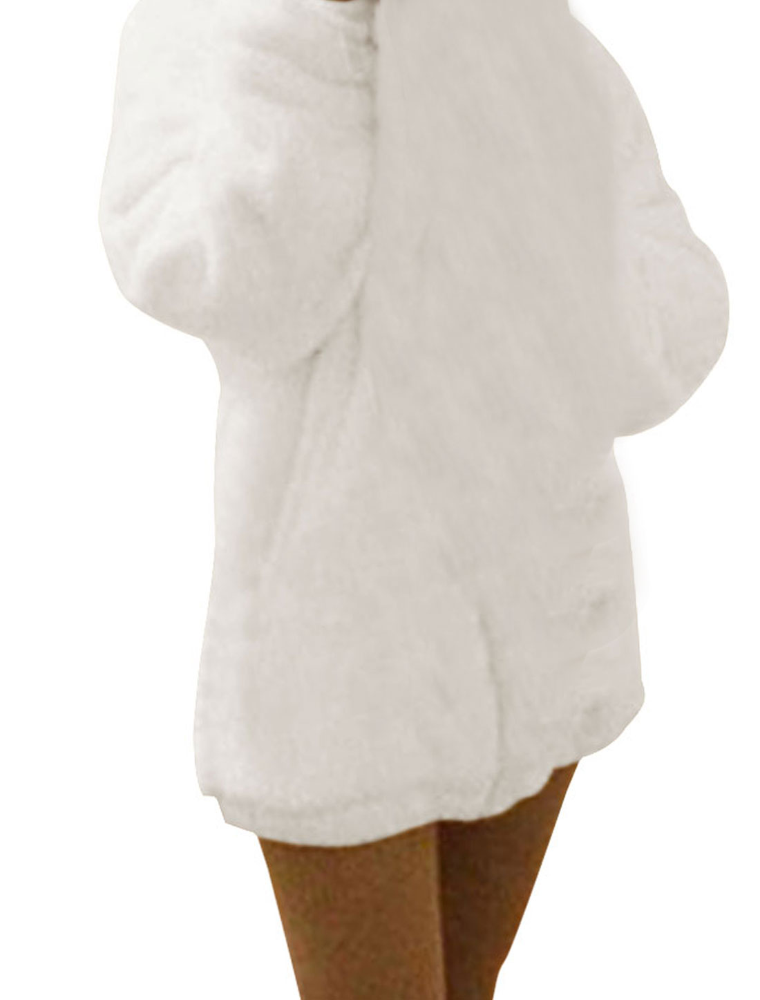 Ladies White Elastic Up Front Zipper Casual Winter Hooded Coat S