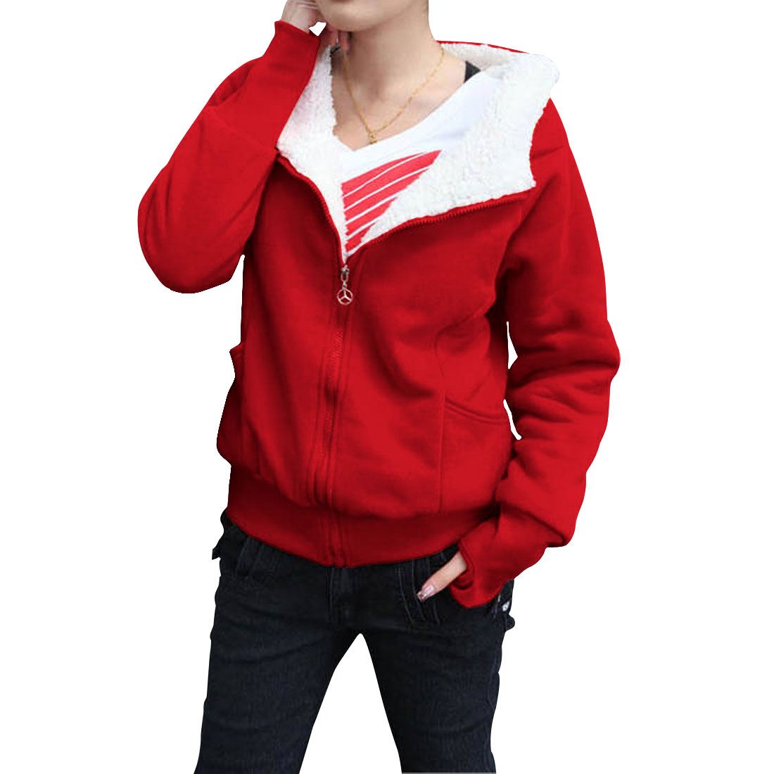 Ladies Red Raglan Sleeves Zip Up Side Pockets Hooded Casual Hoodie S