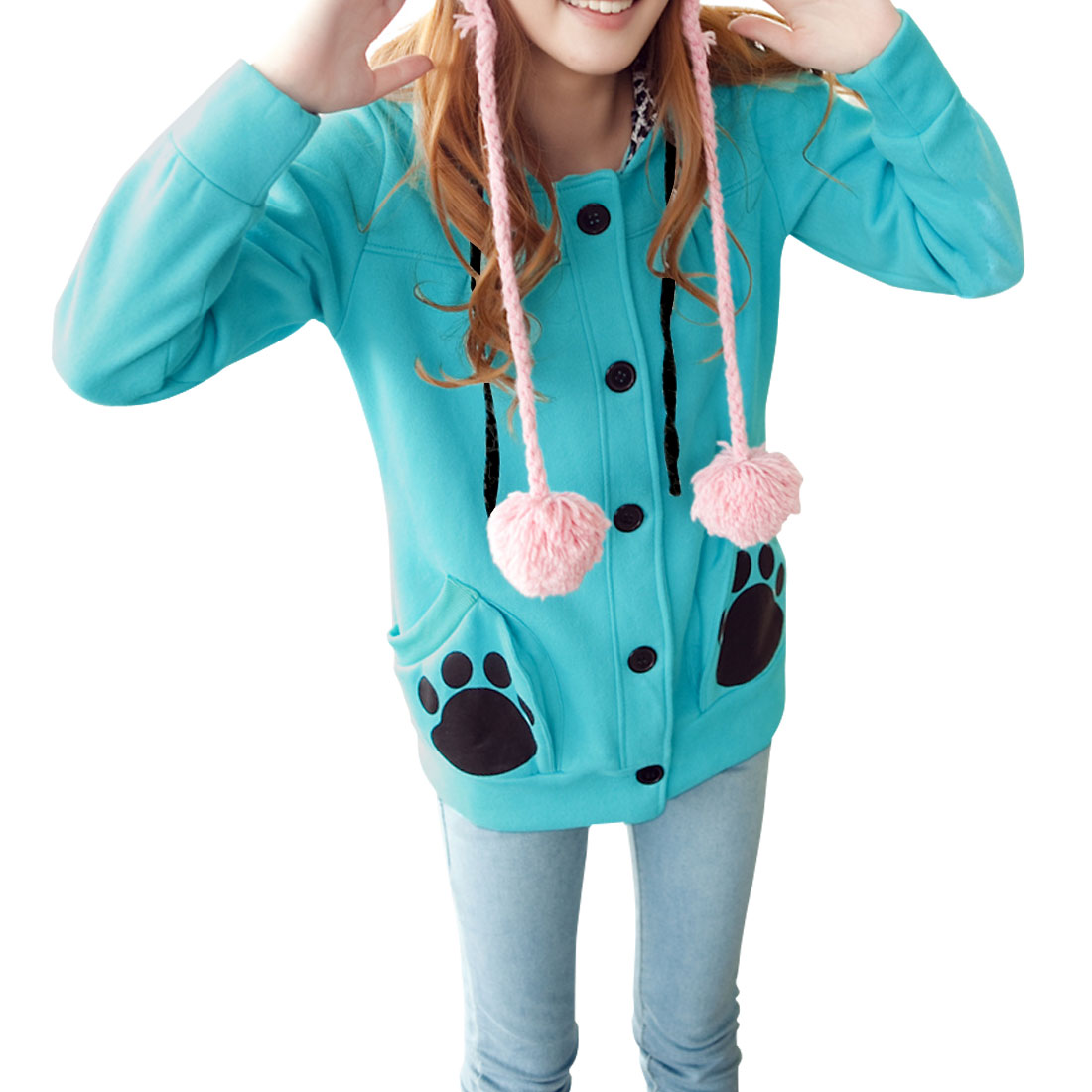 Ladies Teal Blue Button Down Leopard Prints Hooded Casual Hoodie S