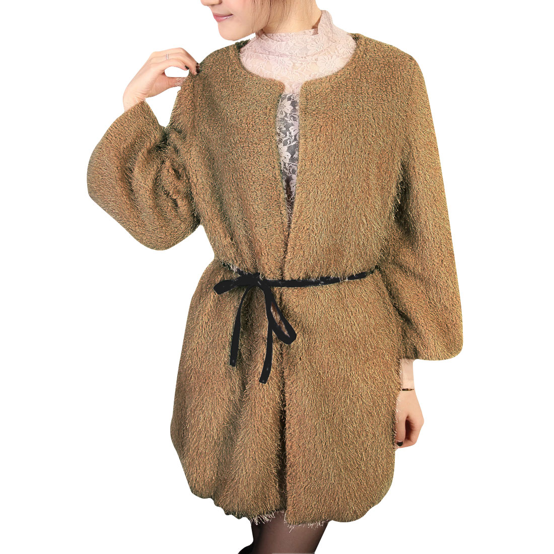 Women Light Brown Pockets Detail 3/4 Sleeve Furry Solid Color Trench Coat S