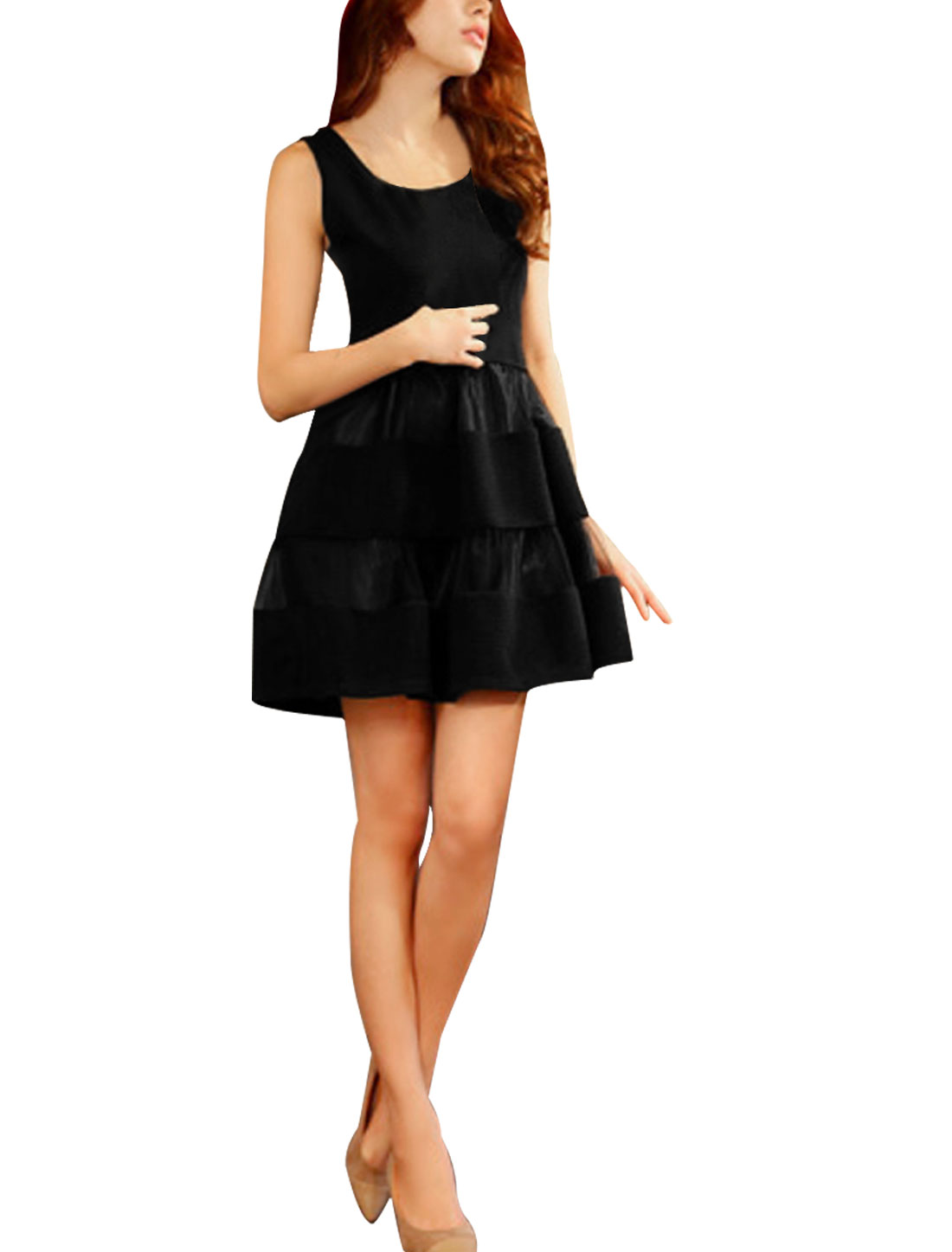 Ladies Black Sleeveless Ruched With Lining Casual Summer Sexy Dress XS