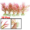 "10 Pcs Aquarium Decor 4.7"" x 3.2"" Colorful Plastic Plant w Ceramic Base"