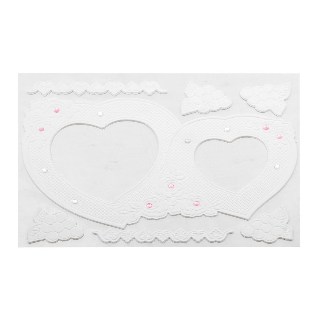 Textured Design Dual Heart Shaped Picture Frame Plastic Sticker White