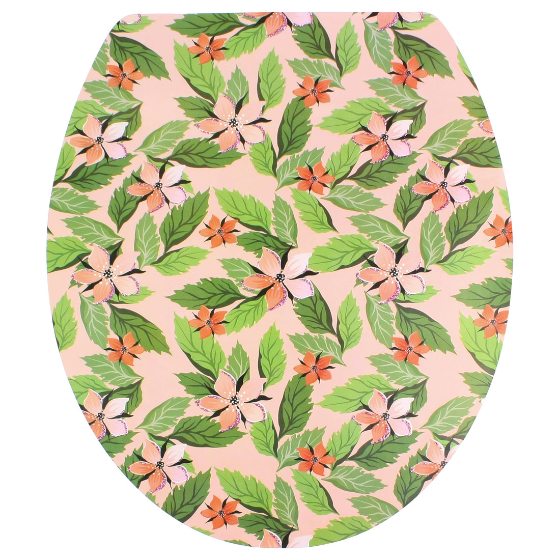 Flower Leaves Pattern Adhesive Removable Sticker Decal for Toilet Lid Shell