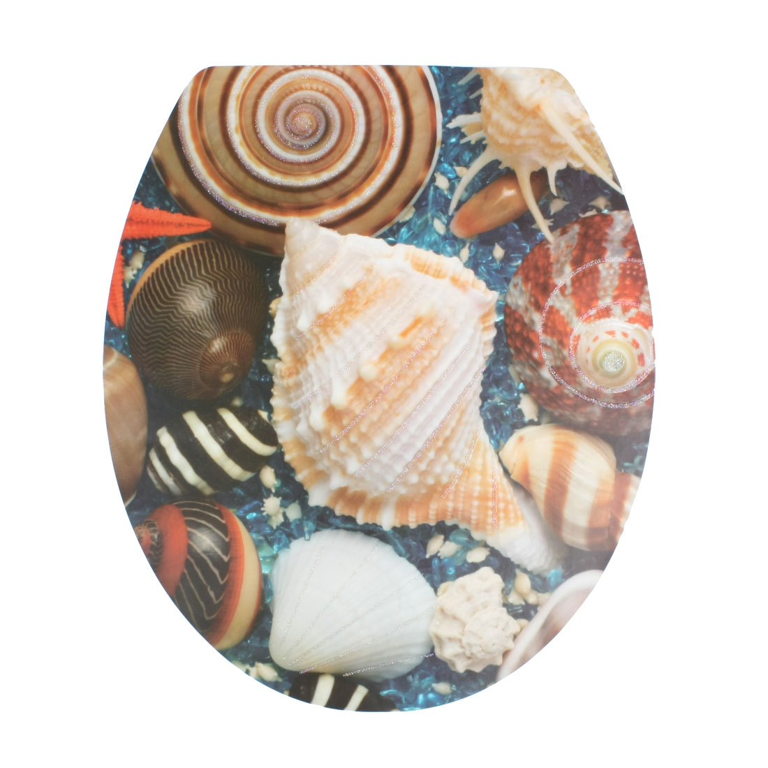 Decorative Sea Shell Pattern Removable Sticker Decal Toilet Lid Seat Cover