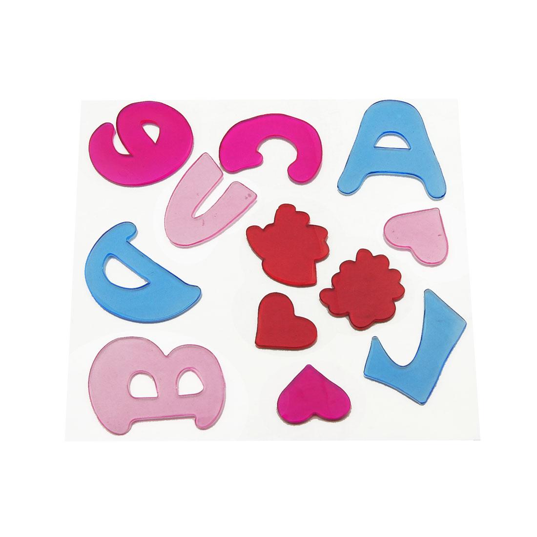 Glass Doors Decor Heart Letter Shaped Colloid Paste Gel Sticker 12 Pcs