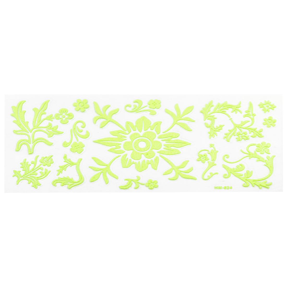 Wall Decor Flower Leaves Design Light Green Luminous Stickers 13 in 1