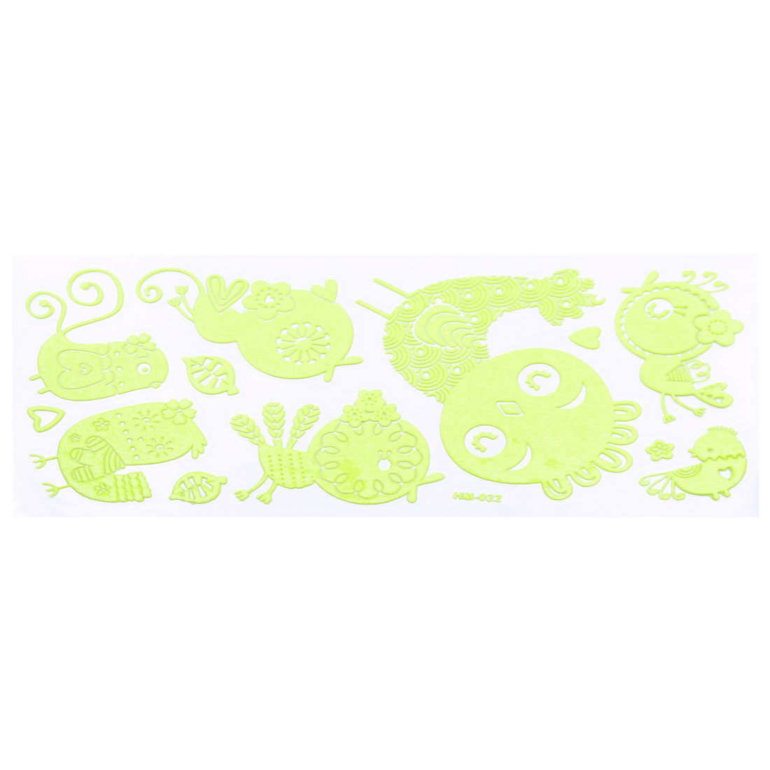Wall Decor Cute Chicken Design Light Green Luminous Stickers 12 in 1