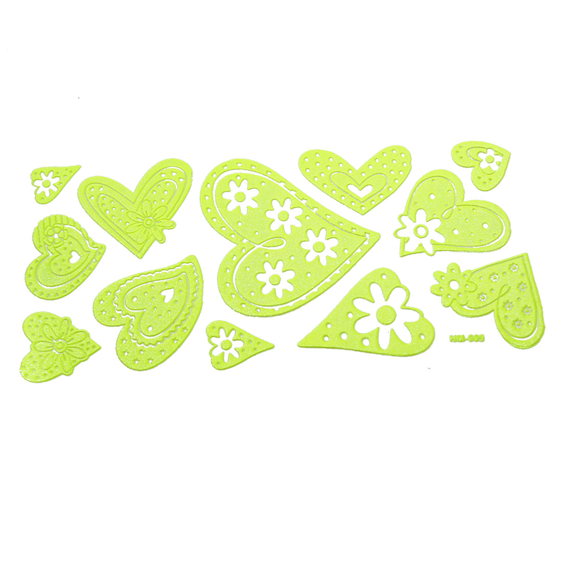 Room Decor Flower Heart Design Light Green Luminous Stickers 13 in 1 Set