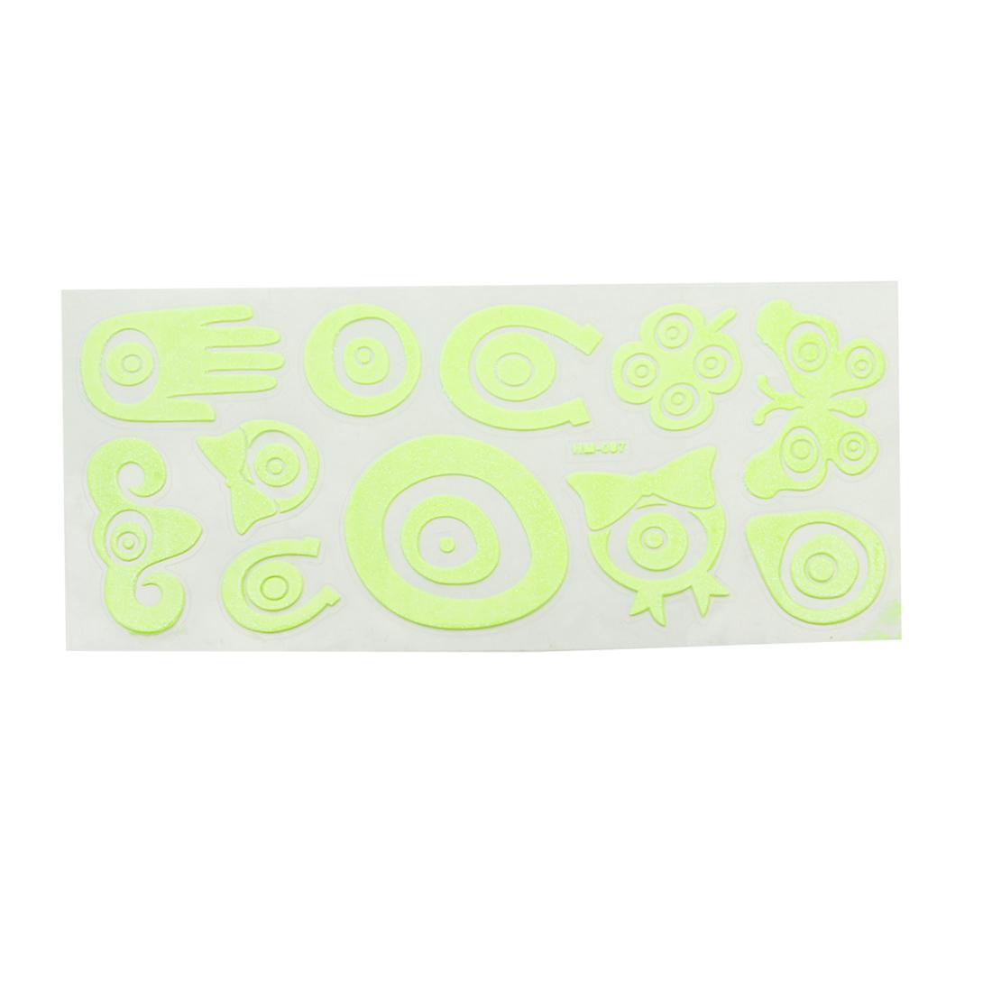 Wall Decor Butterfly Design Light Green Luminous Stickers 12 Pcs