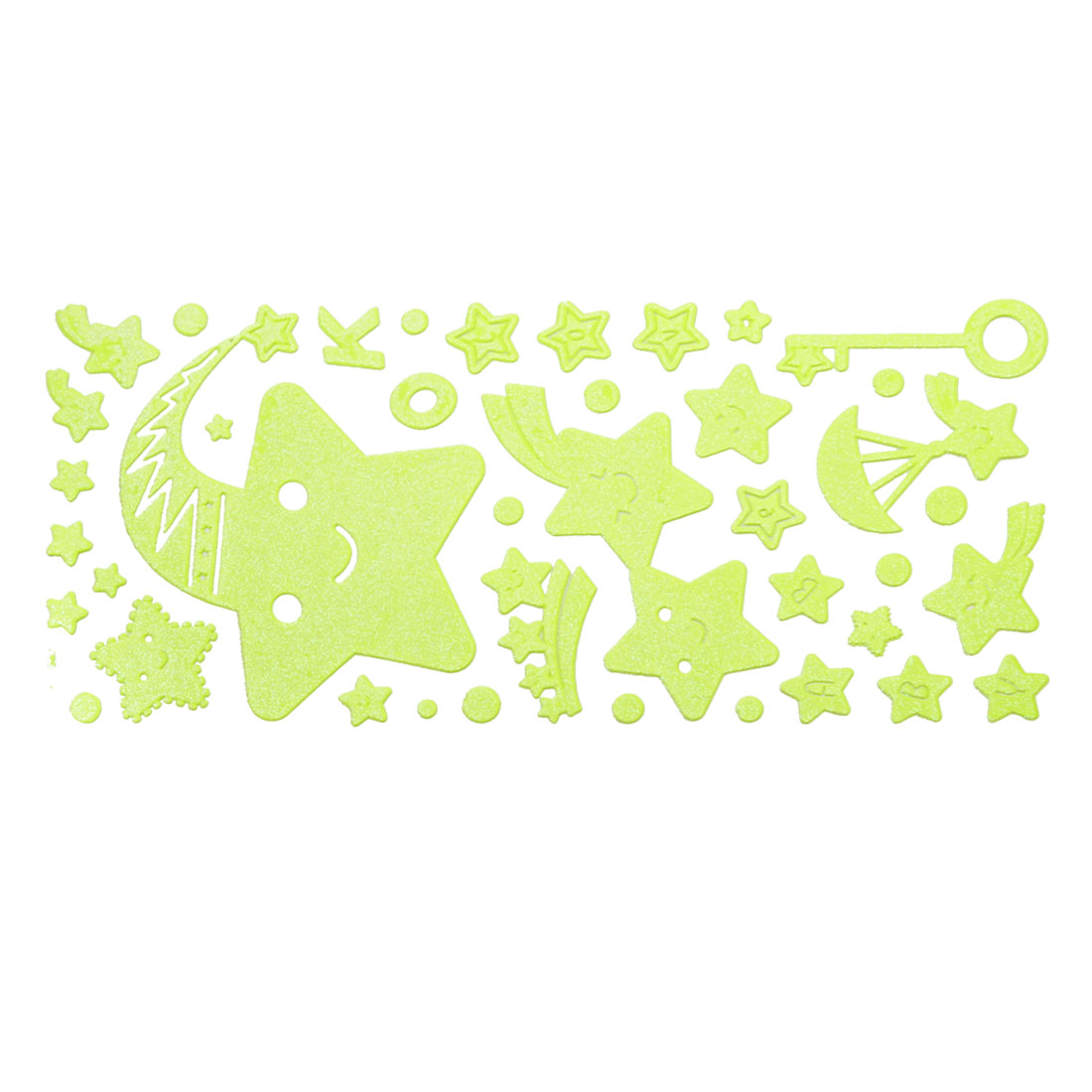 Wall Decor Smile Star Design Light Green Luminous Stickers 41 in 1 Set