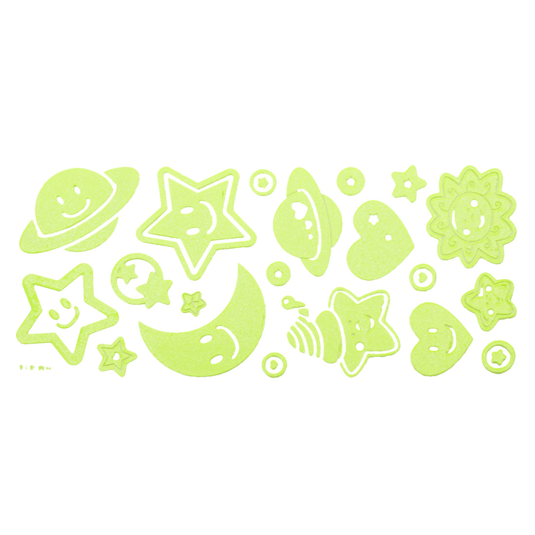 Room Decor Smile Moon Design Light Green Luminous Stickers 21 in 1 Set