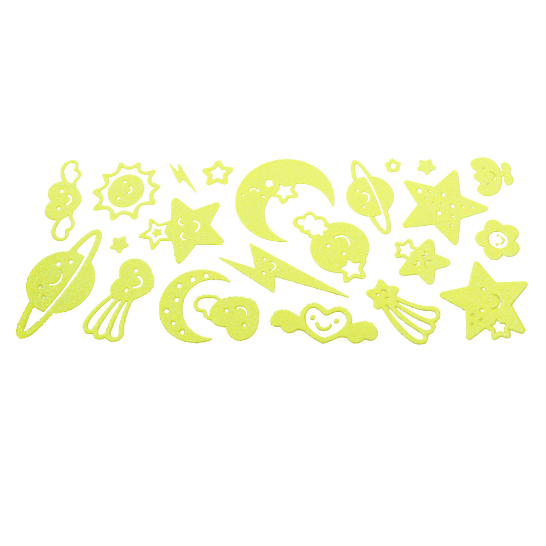Glass Decoration Star Moon Flower Design Luminous Stickers 23 in 1 Set