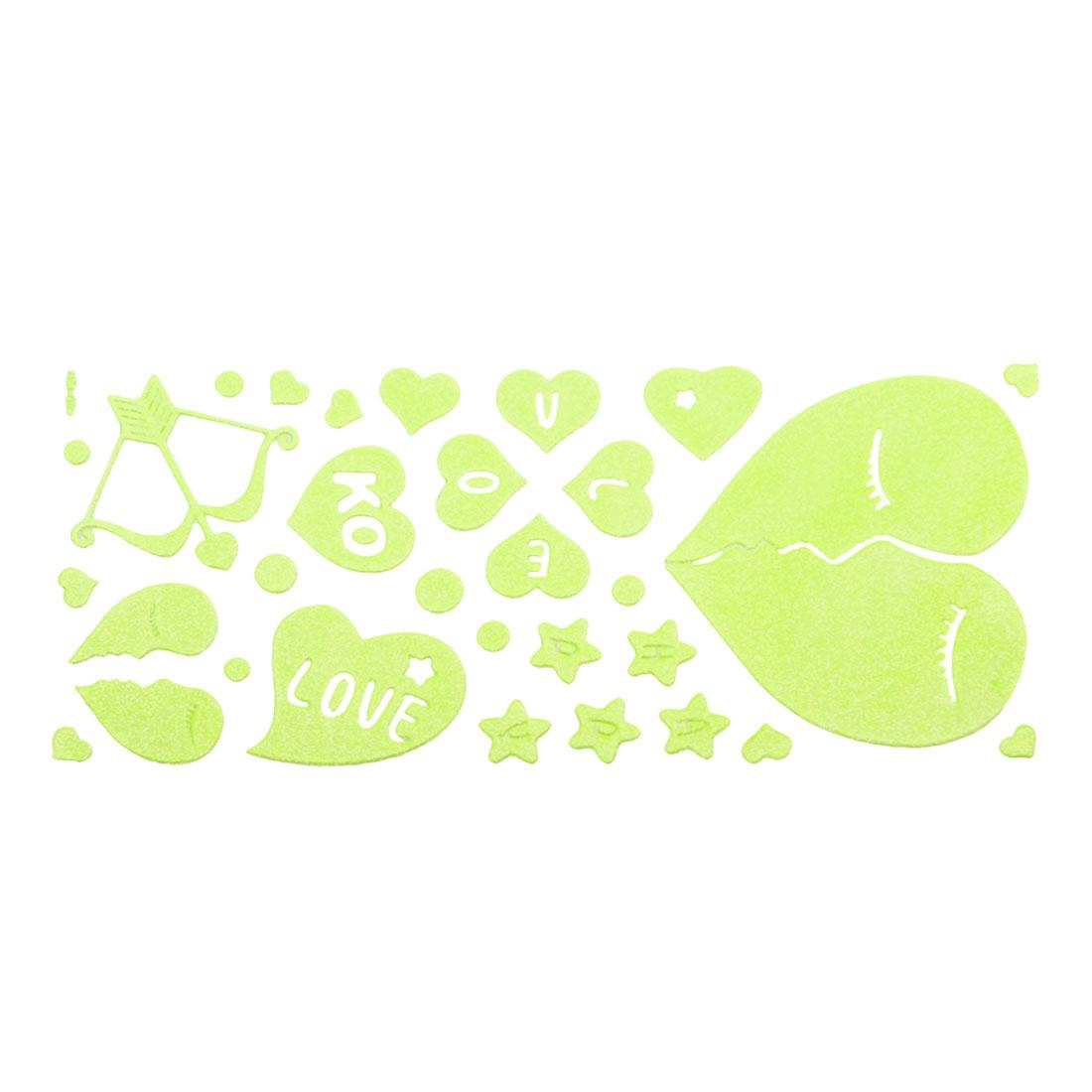 Room Decor Star Heart Shaped Light Green Luminous Stickers 30 in 1 Set