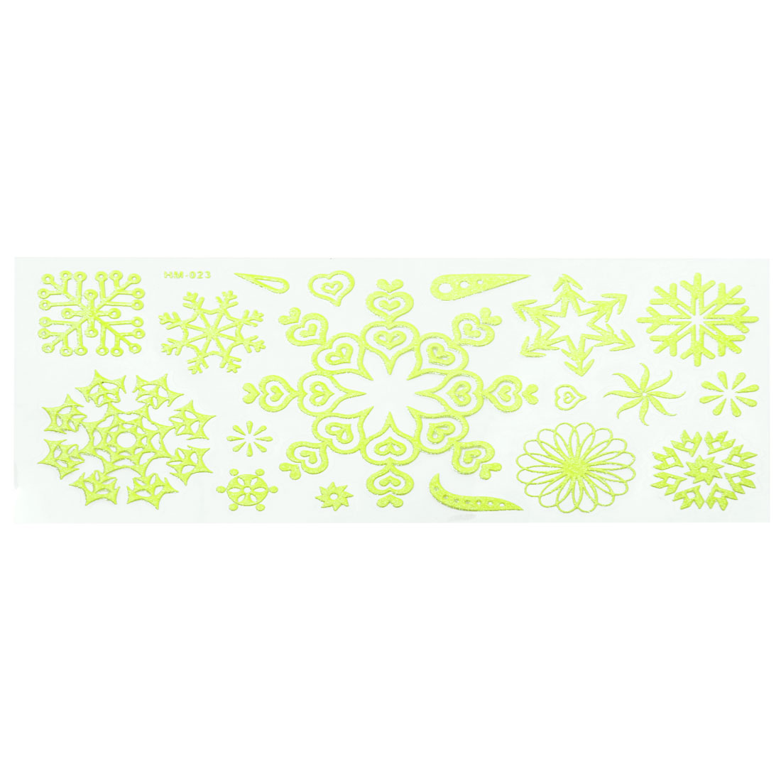 Wall Decor Snowflake Heart Design Light Green Luminous Stickers 16 in 1