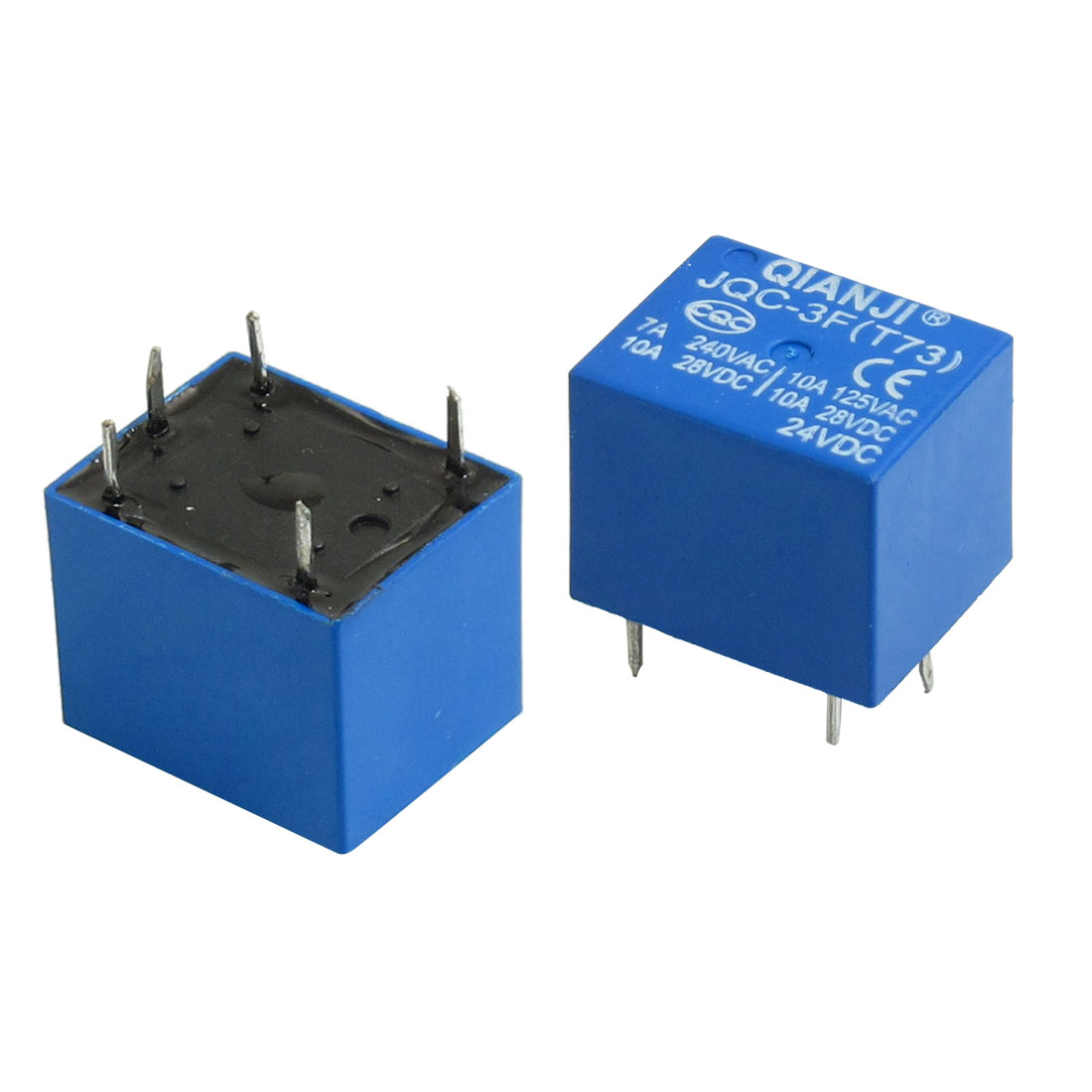 2 Pcs DC 24V Coil SPDT 5 Pin Mini Power Relays PCB Type JQC-3F(T73)