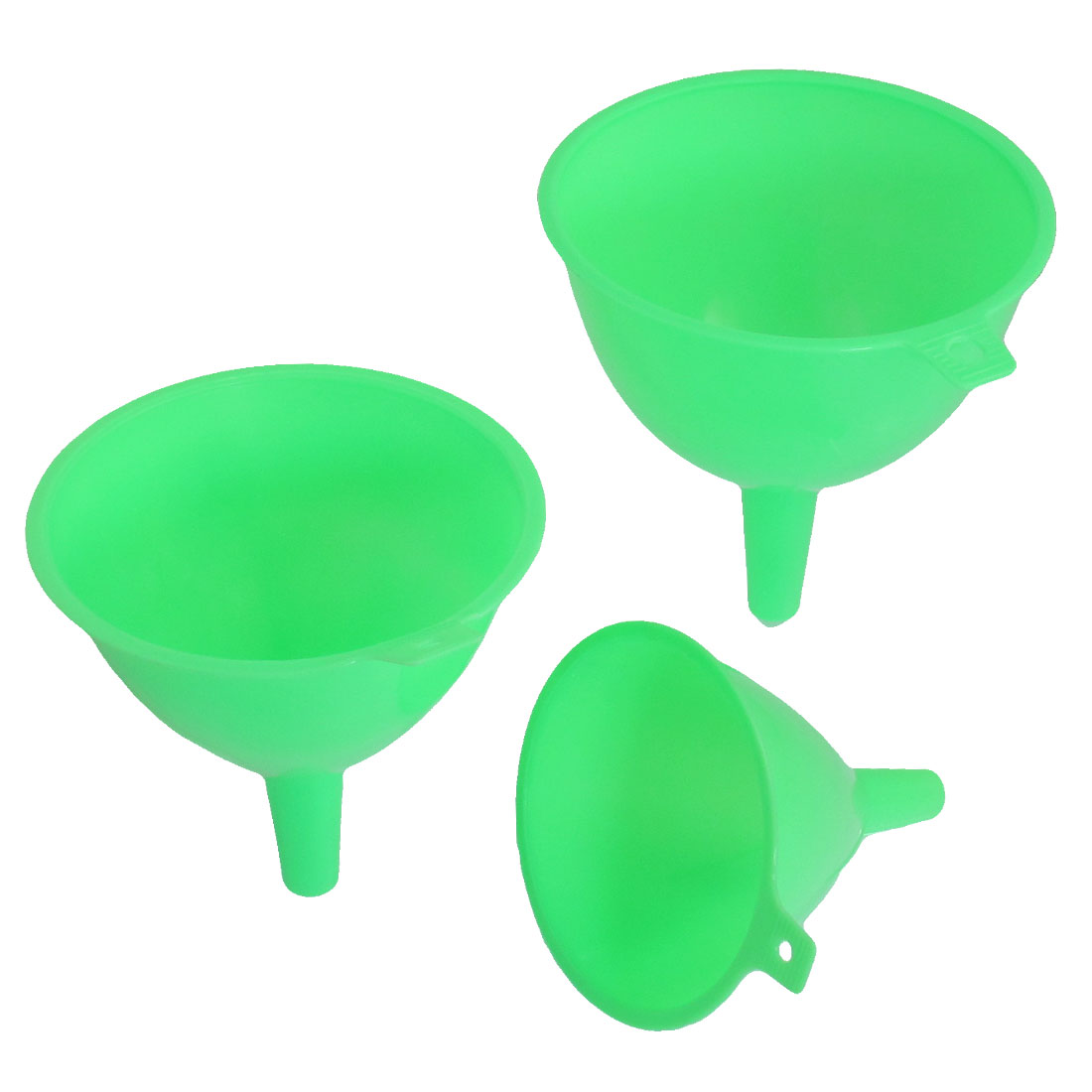 "Green Hard Plastic 4.5"" 4"" 3.3"" Dia Filter Funnels 3 Pcs"