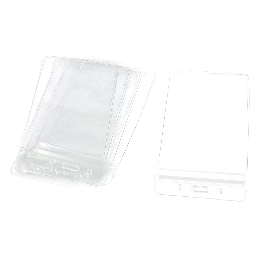 5 Pcs School Office Clear Plastic Vertical ID Card Badge Holders