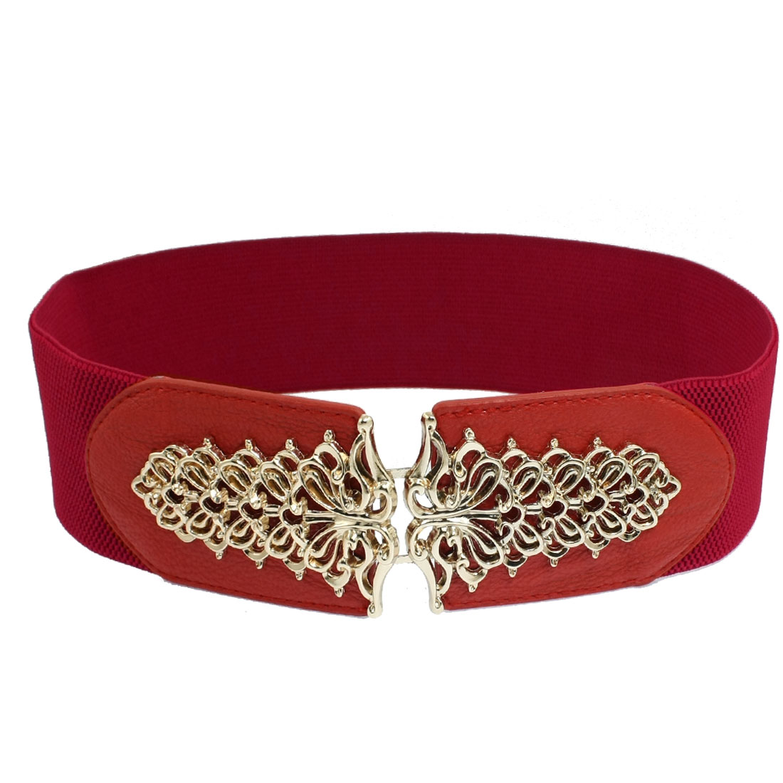 Ladies Gold Tone Hollow Tree Interlocking Buckle Stretchy Waist Belt Red
