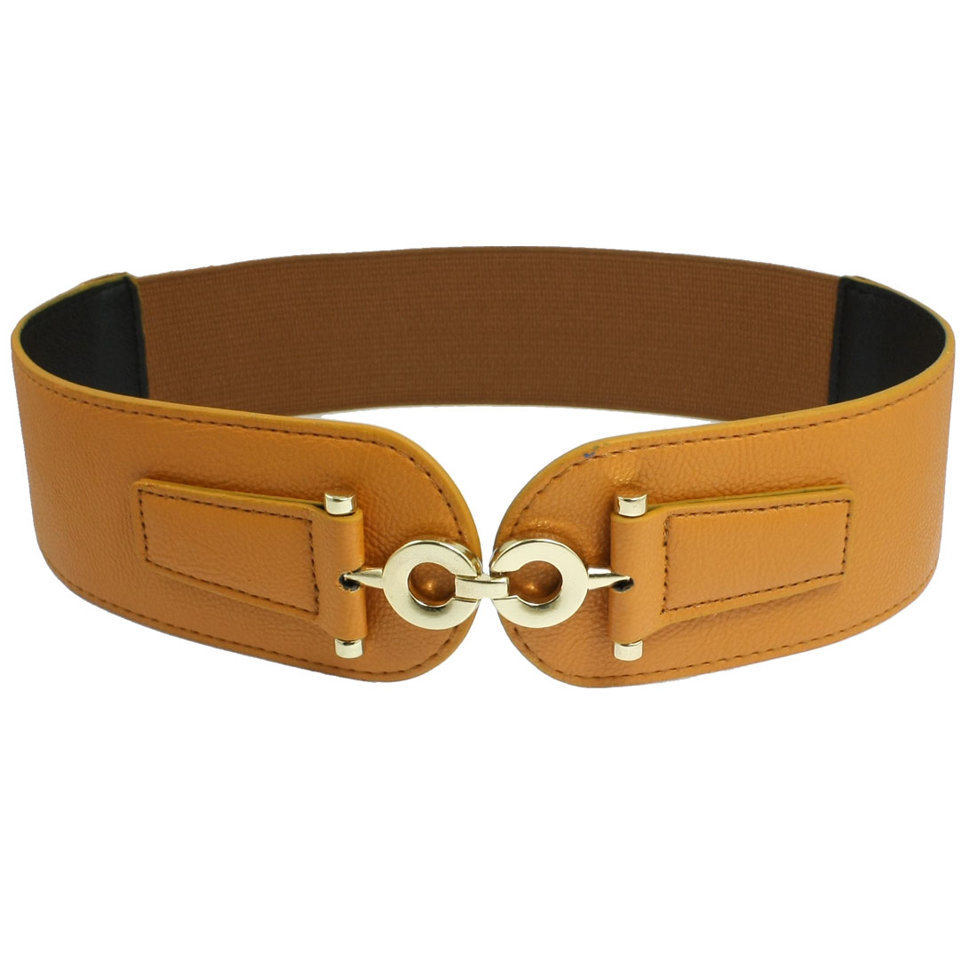Ladies Lychee Pattern 8 Shaped Buckle Faux Leather Elastic Waist Belt Brown