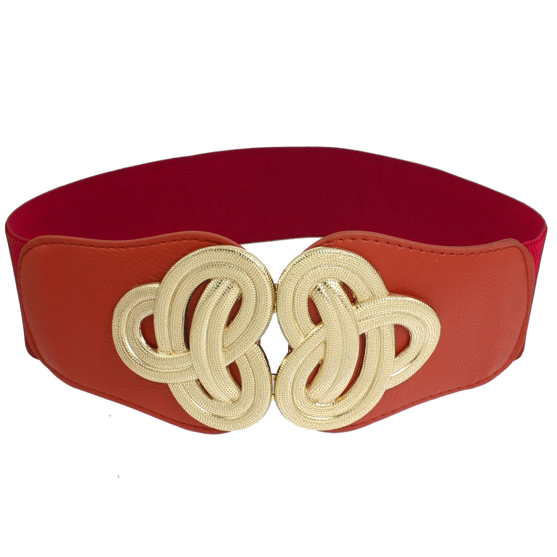 Women Gold Tone Twisted Flower Accent Red Textured Elastic Waist Belt Cinch