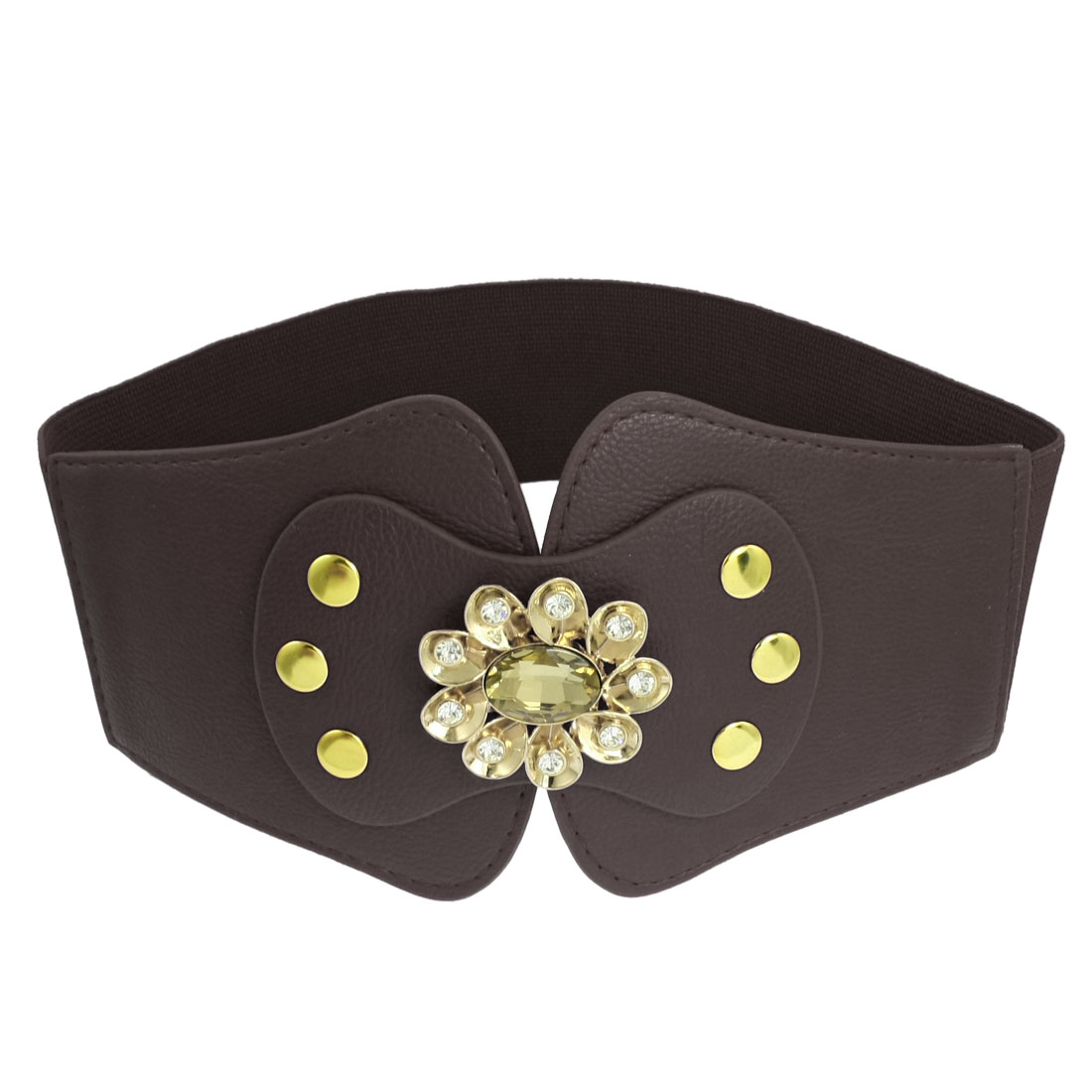 Glittery Rhinestone Floral Coffee Color Elastic Fabric Waist Belt for Ladies