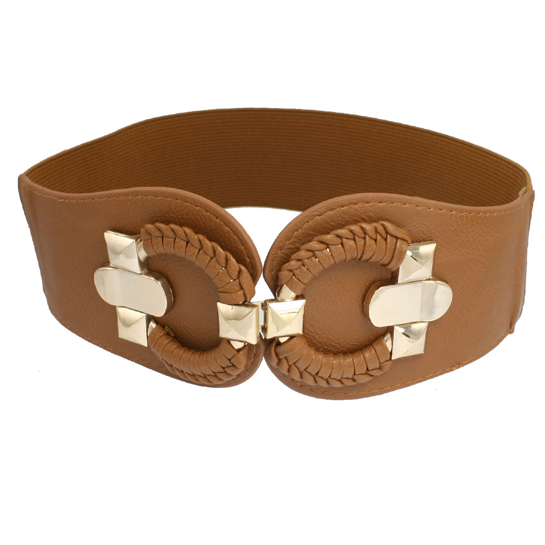 Women Round Braided Buckle Textured Faux Leather Stretchy Waistband Brown