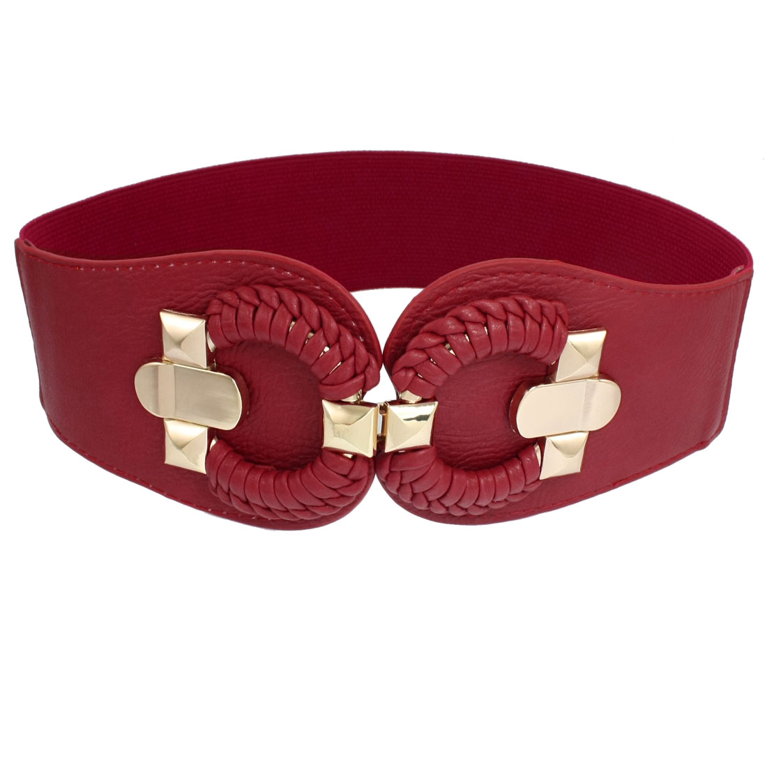 Ladies Round Braided Buckle Textured Faux Leather Elastic Waistband Red