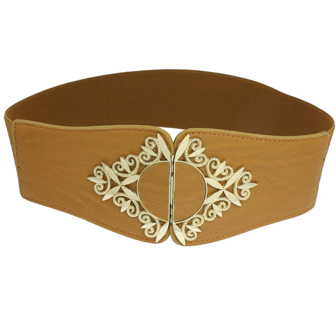 Gold Tone Leaf Interlocking Buckle Brown Faux Leather Stretchy Belt for Women