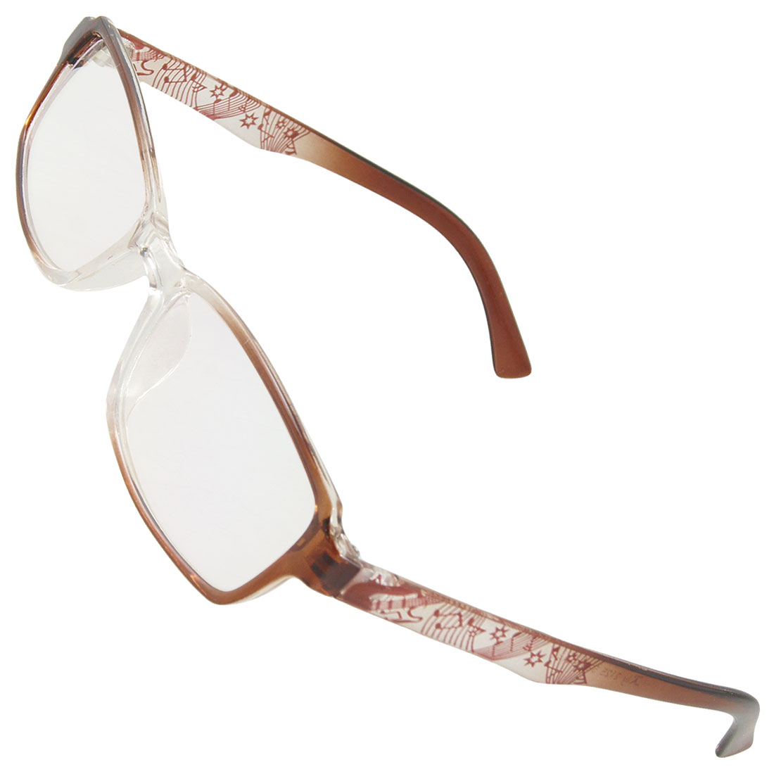 Lady Wine Red Clear Plastic Musical Note Print Arms Full Rim MC Lens Spectacles