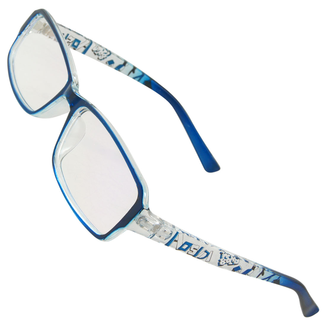 Blue Letters Pattern Multi Coated Lens Plano Glasses Eyeglasses for Women