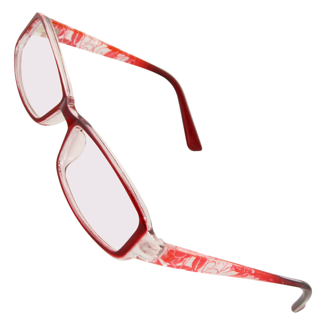 Women Plastic Flower Prints Arms Full Frame MC Lens Spectacles Wine Red
