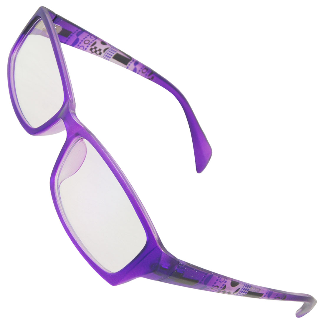 Purple Plastic Geometric prints Arms Full Frame MC Lens Spectacles for Women