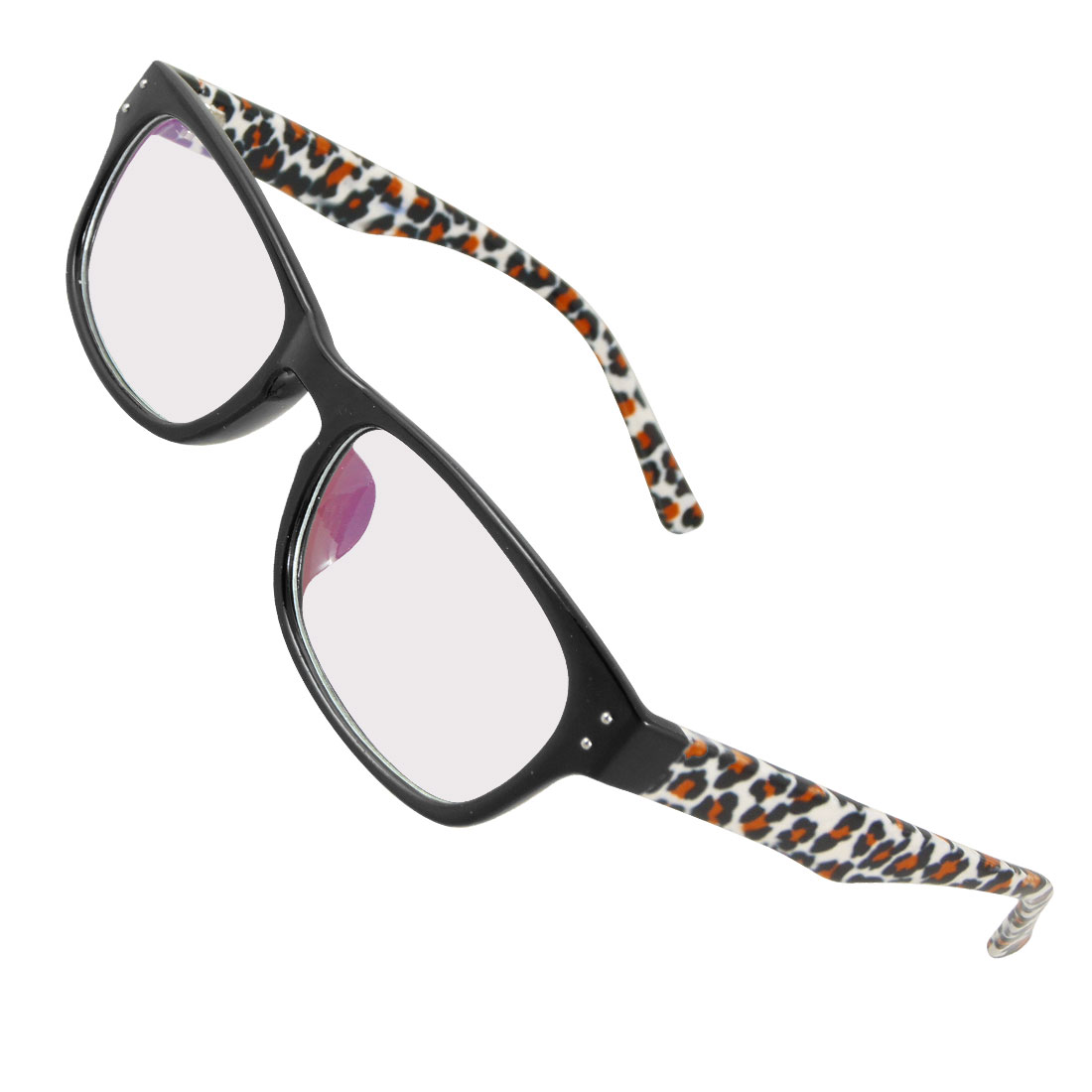 Women Plastic Leopard Prints Arms Black Full Frame MC Lens Spectacles