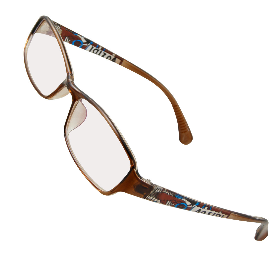 Lady Plastic Geometric prints Arms Full Frame MC Lens Spectacles Brown