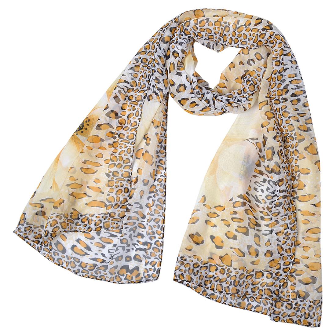 "Women Black Orange Leopard Pattern Floral Chiffon Scarf Shawl 62.2"""
