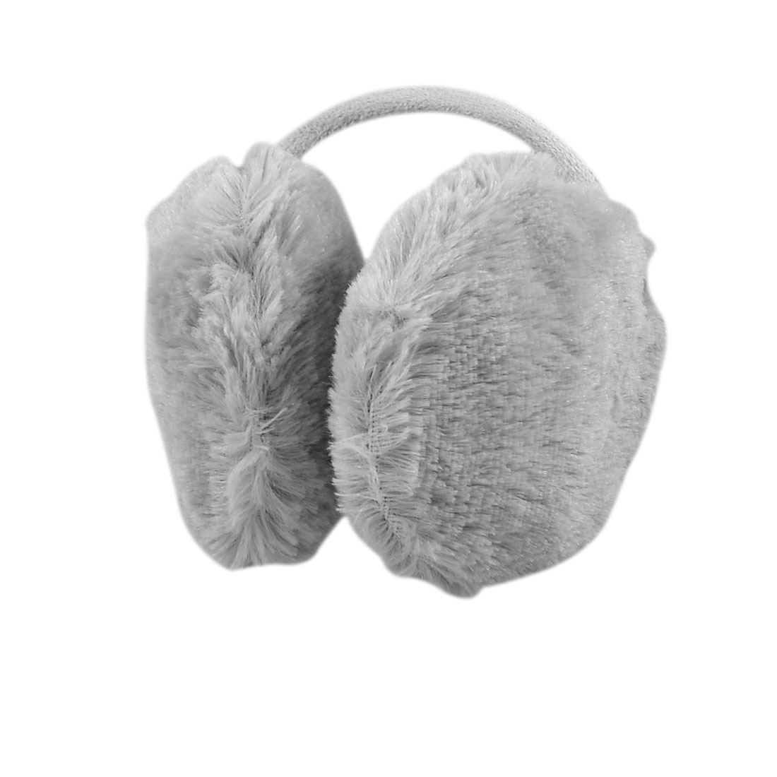 Woman Grey Winter Headwear Plush Ear Cover Back Earmuffs