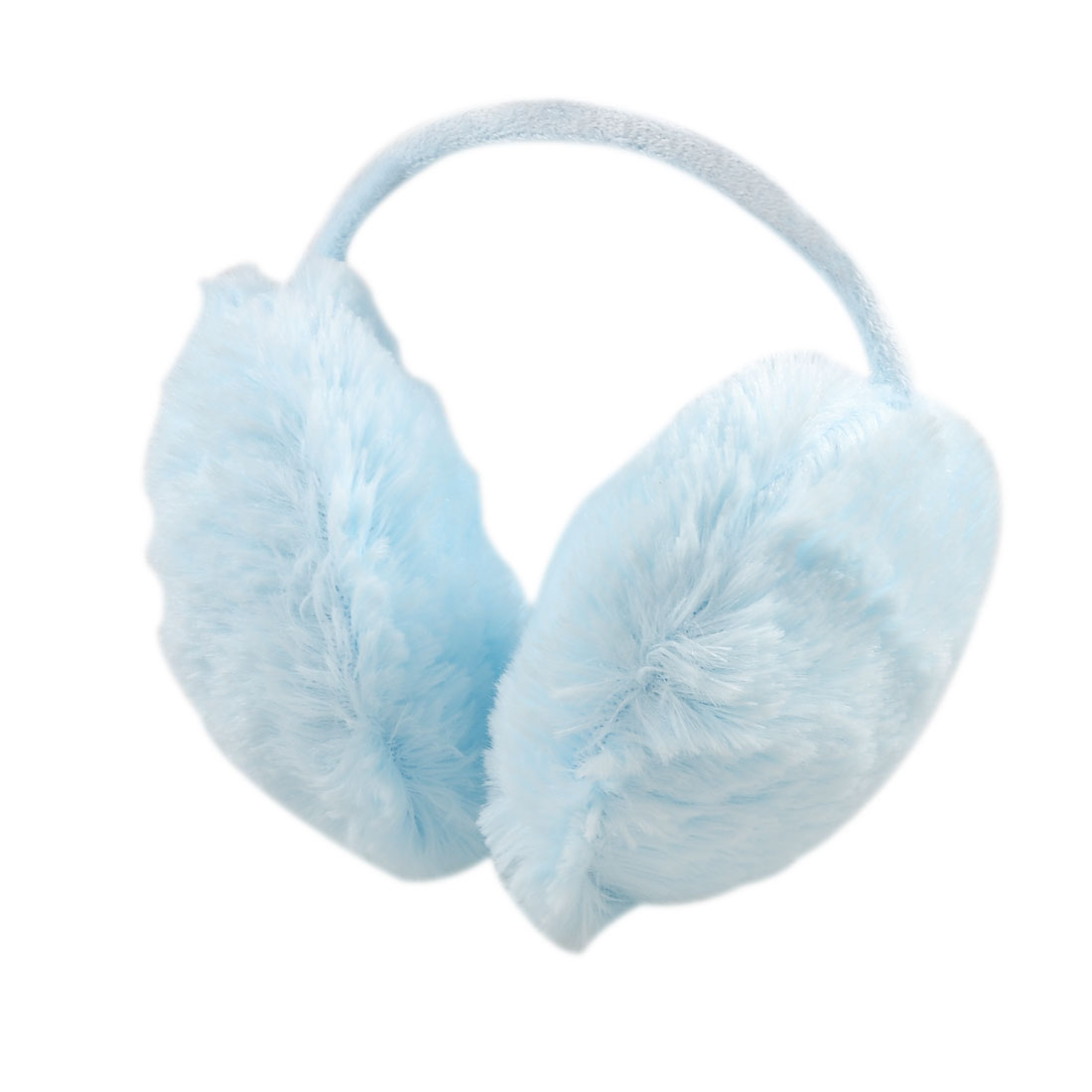Ladies Winter Headwear Plush Ear Pad Back Earmuffs Light Blue