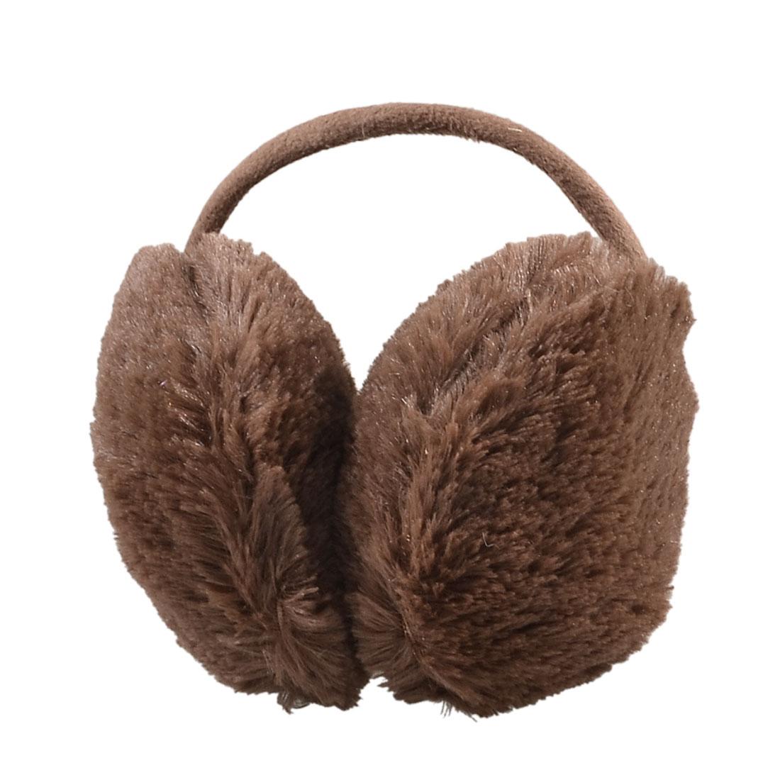 Women Brown Winter Headwear Plush Ear Warmer Back Earmuffs