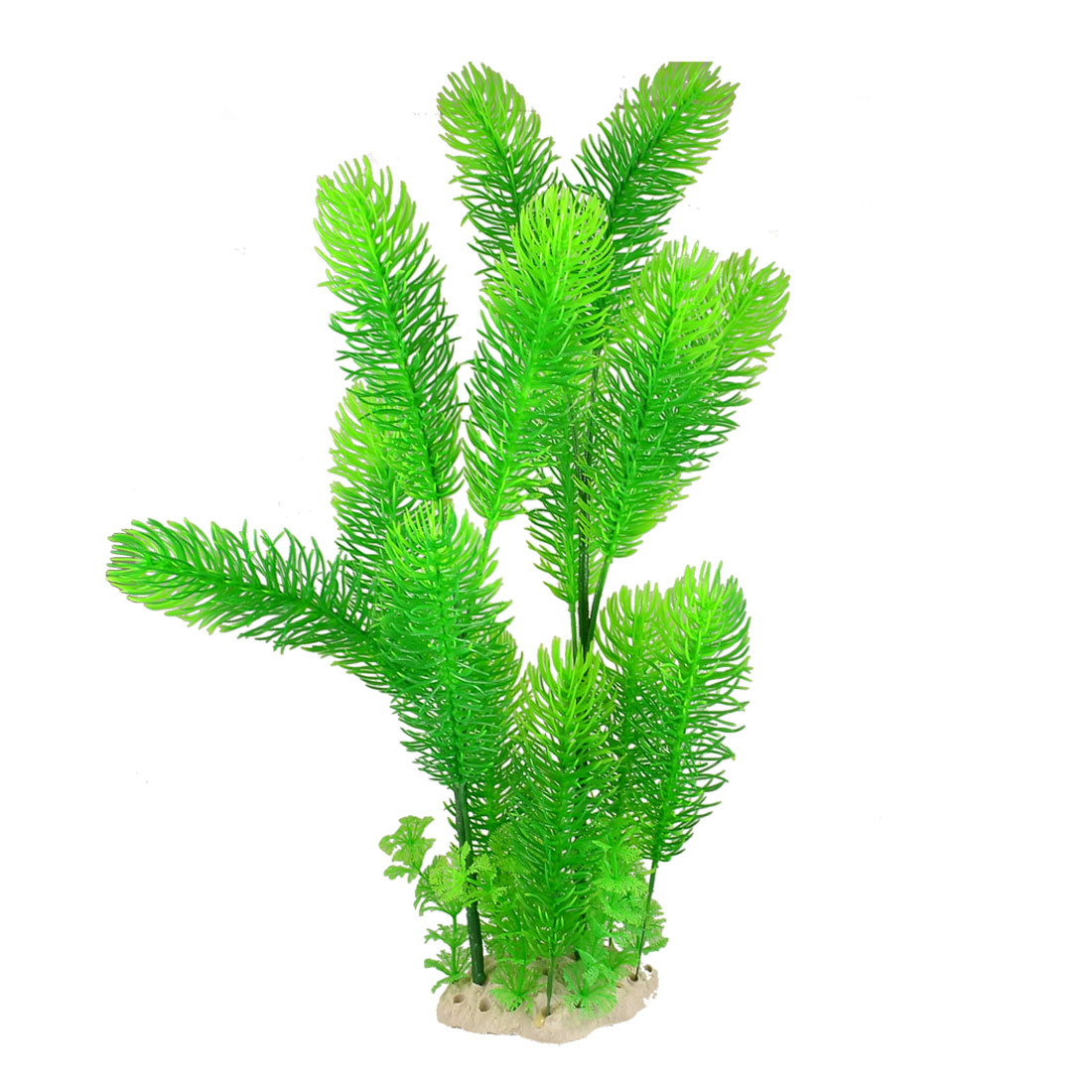 "18.1"" Height Aquarium Green Long Slim Leaves Plastic Plant for Fish Tank"